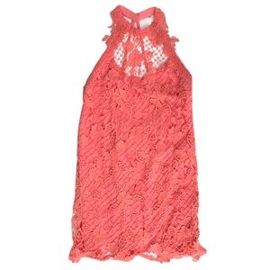 Free people coral lace dress Anthropologie medium